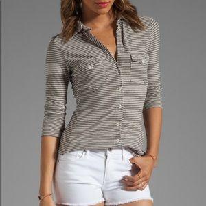 James Perse Side Panel Stripe Jersey Shirt Gray 4